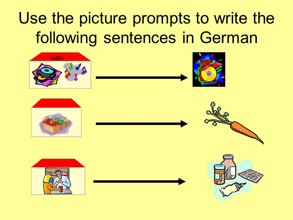 Use the picture prompts to write the following sentences in German HMV
