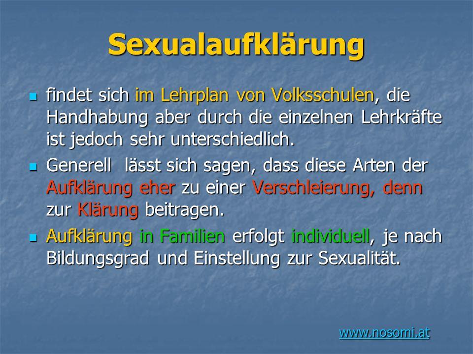 www.nosomi.at Sexualaufklärung findet sich im Lehrplan von Volksschulen, die Handhabung aber durch die einzelnen Lehrkräfte ist jedoch sehr unterschiedlich.