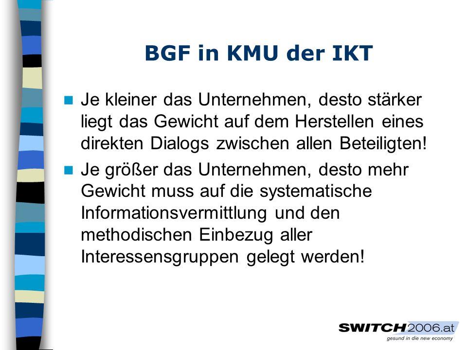 BGF in KMU der IKT Steuerungsgruppe Zusammensetzung: mindestens 2 Personen + BGF-Experten/in Alle wesentlichen EntscheidungsträgerInnen z.T.