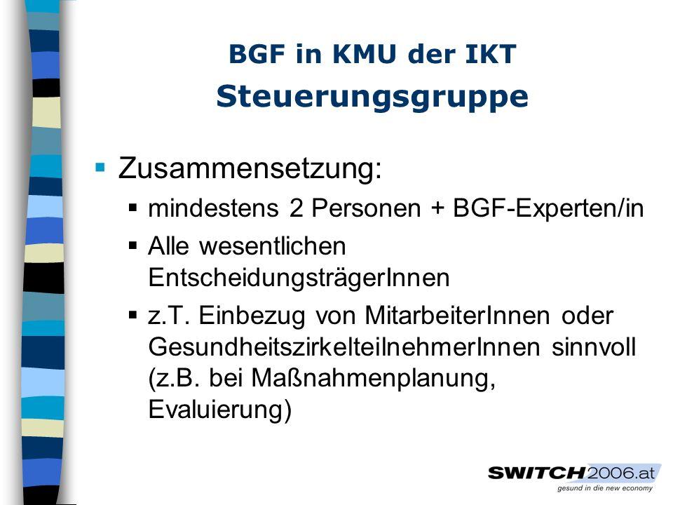 Gesellschaftlicher Rahmen IKT-Unternehmen sind Vorreiter bezüglich Arbeitsrahmenbedingungen: Flexibilität, Verfügbarkeit, Entgrenzung Unsichere Beschäftigungsverhältnisse BGF kann nur so erfolgreich sein, wie es der gesellschaftliche Rahmen zulässt!