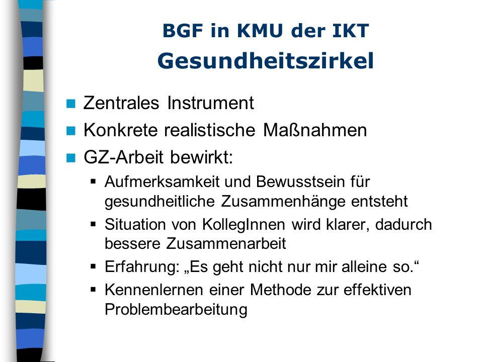 BGF in KMU der IKT Evaluation Wichtige Intervention Form: Erörterung des Umsetzungstandes Analyse: Was ist gut gelaufen.