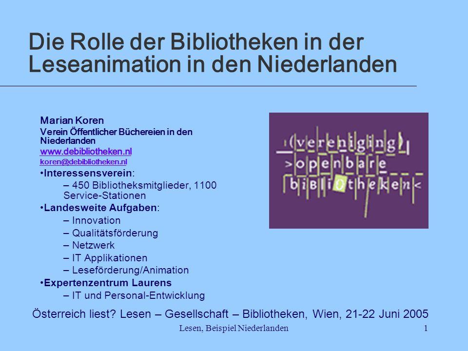 Lesen, Beispiel Niederlanden1 Die Rolle der Bibliotheken in der Leseanimation in den Niederlanden Marian Koren Verein Öffentlicher Büchereien in den N
