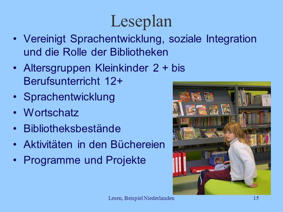 Lesen, Beispiel Niederlanden15 Leseplan Vereinigt Sprachentwicklung, soziale Integration und die Rolle der Bibliotheken Altersgruppen Kleinkinder 2 +