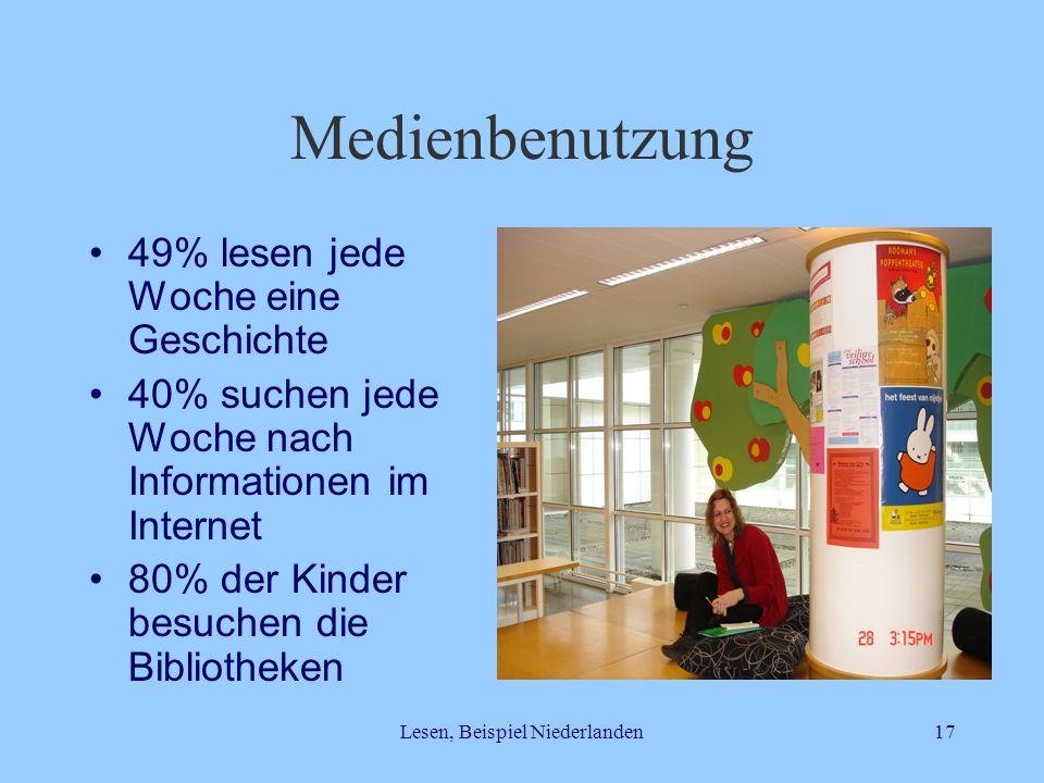 Lesen, Beispiel Niederlanden17 Medienbenutzung 49% lesen jede Woche eine Geschichte 40% suchen jede Woche nach Informationen im Internet 80% der Kinde