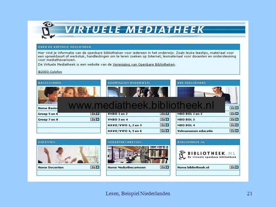Lesen, Beispiel Niederlanden21 www.mediatheek.bibliotheek.nl