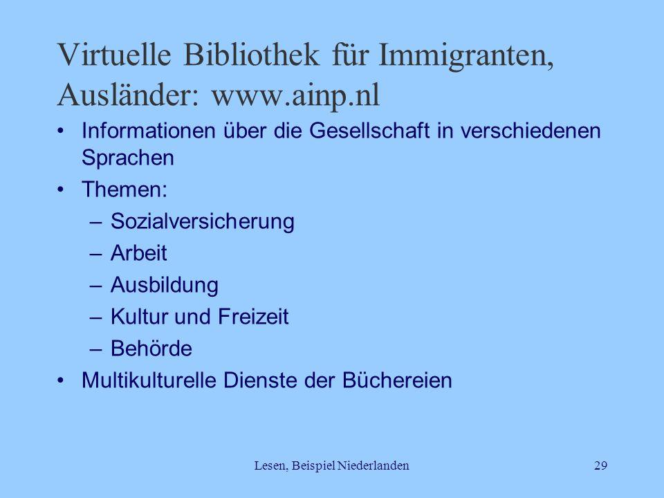 Lesen, Beispiel Niederlanden29 Virtuelle Bibliothek für Immigranten, Ausländer: www.ainp.nl Informationen über die Gesellschaft in verschiedenen Sprac