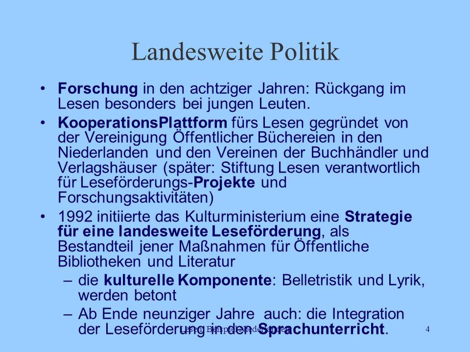 Lesen, Beispiel Niederlanden4 Landesweite Politik Forschung in den achtziger Jahren: Rückgang im Lesen besonders bei jungen Leuten. KooperationsPlattf