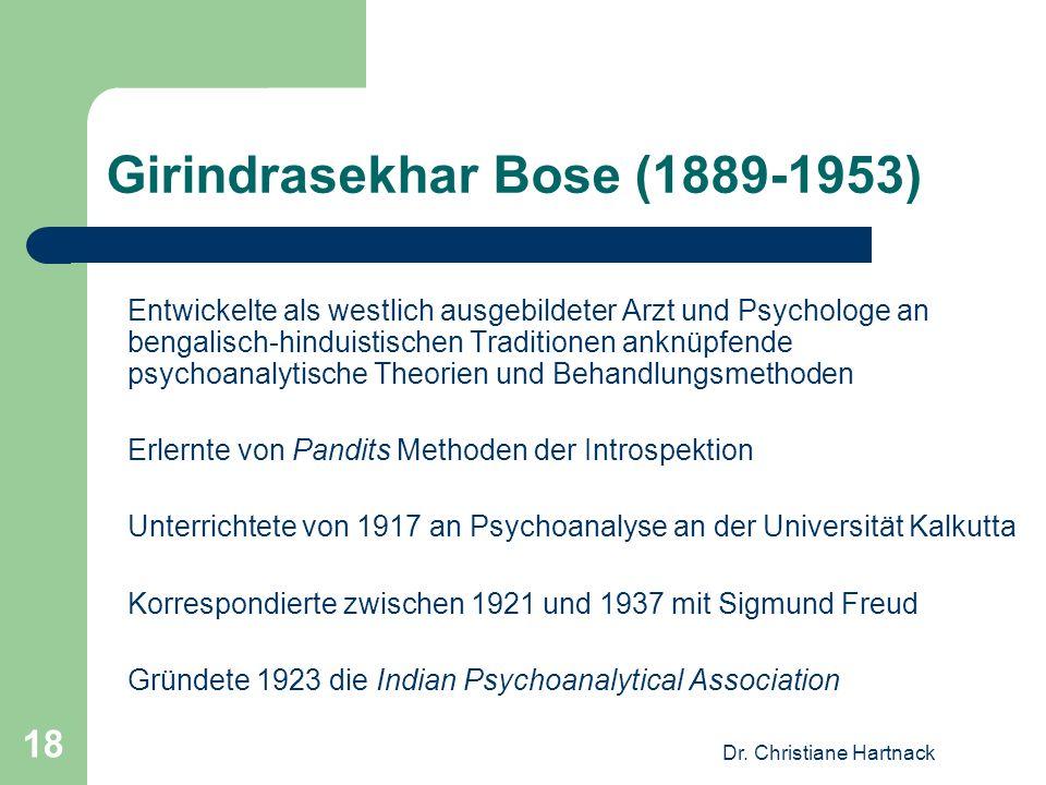 Dr. Christiane Hartnack 18 Girindrasekhar Bose (1889-1953) Entwickelte als westlich ausgebildeter Arzt und Psychologe an bengalisch-hinduistischen Tra