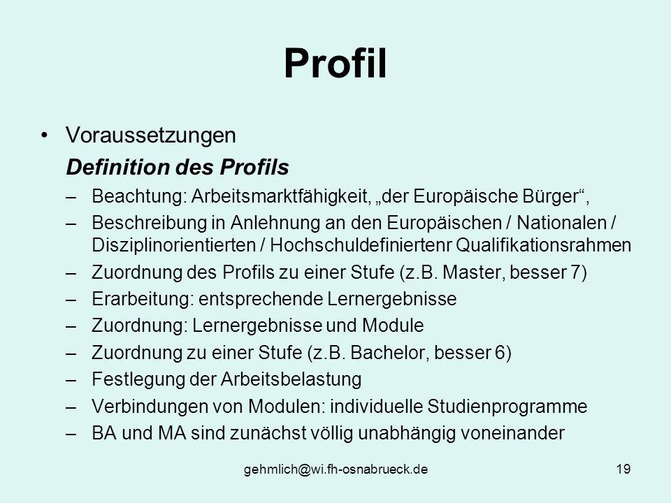 gehmlich@wi.fh-osnabrueck.de19 Profil Voraussetzungen Definition des Profils –Beachtung: Arbeitsmarktfähigkeit, der Europäische Bürger, –Beschreibung