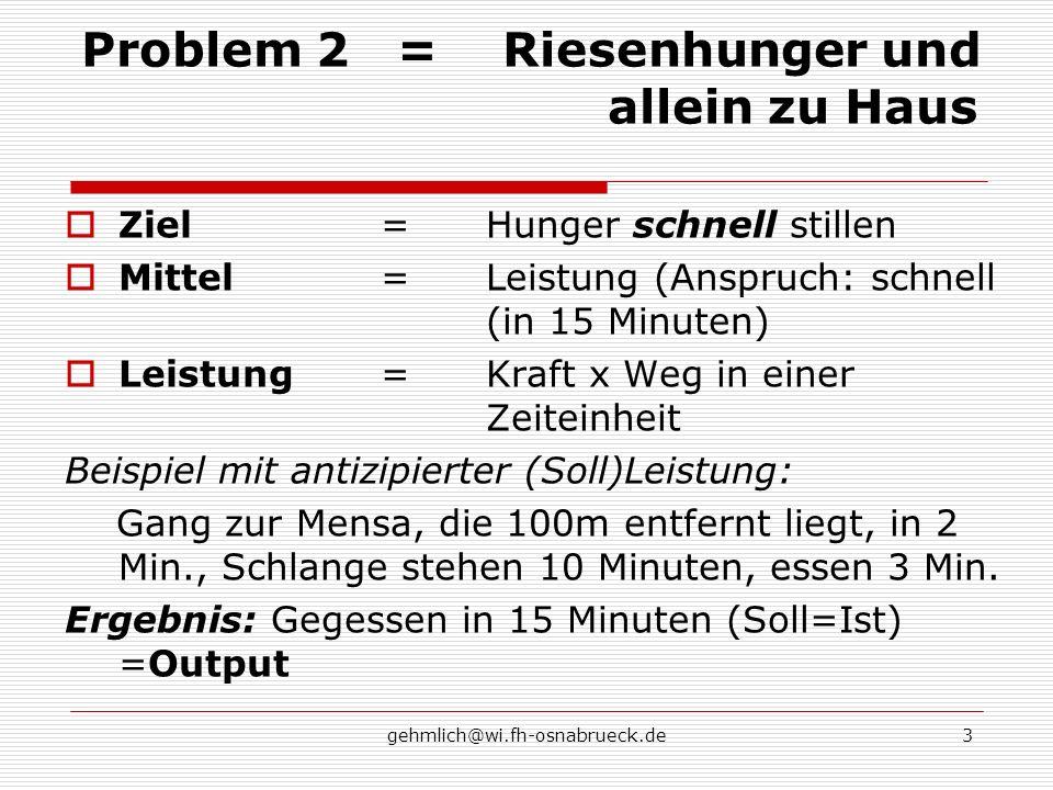 gehmlich@wi.fh-osnabrueck.de3 Problem 2=Riesenhunger und allein zu Haus Ziel=Hunger schnell stillen Mittel=Leistung (Anspruch: schnell (in 15 Minuten)