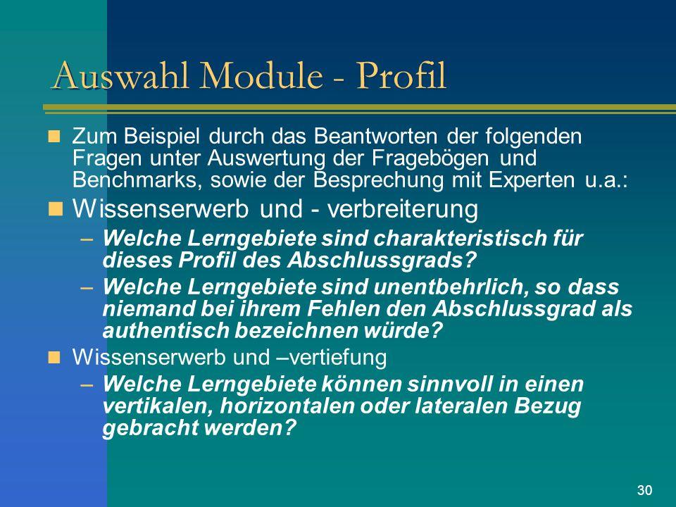 30 Auswahl Module - Profil Zum Beispiel durch das Beantworten der folgenden Fragen unter Auswertung der Fragebögen und Benchmarks, sowie der Besprechu