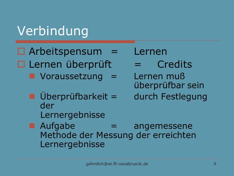 gehmlich@wi.fh-osnabrueck.de9 Verbindung Arbeitspensum = Lernen Lernen überprüft=Credits Voraussetzung=Lernen muß überprüfbar sein Überprüfbarkeit=durch Festlegung der Lernergebnisse Aufgabe=angemessene Methode der Messung der erreichten Lernergebnisse