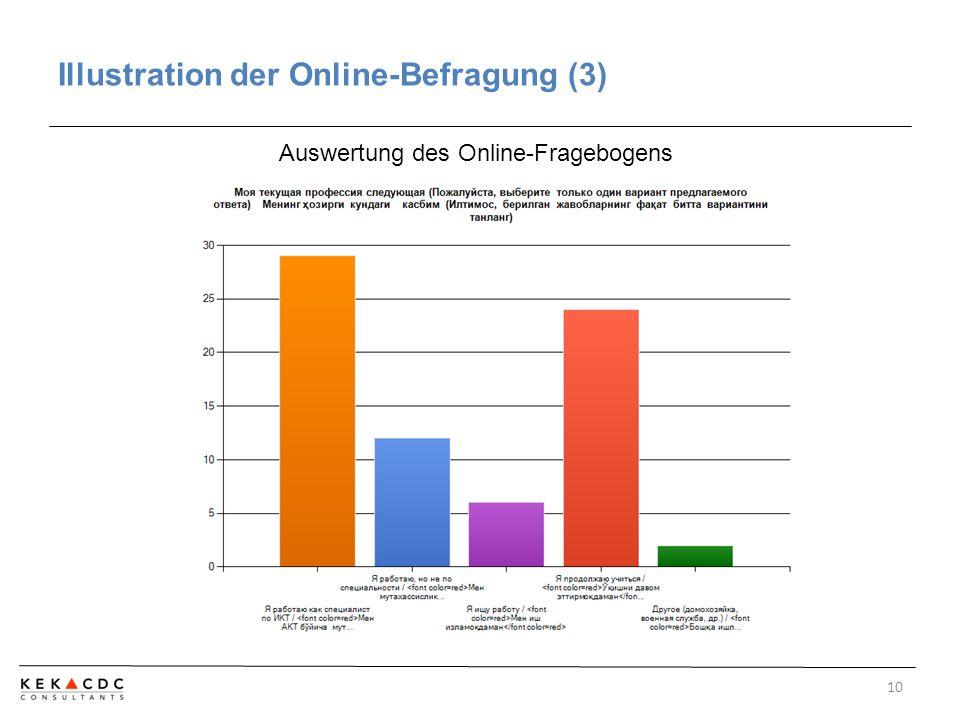 Illustration der Online-Befragung (3) 10 Auswertung des Online-Fragebogens