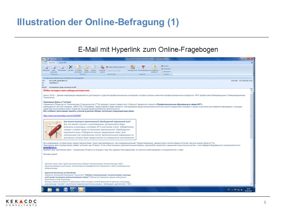 Illustration der Online-Befragung (1) 8 E-Mail mit Hyperlink zum Online-Fragebogen