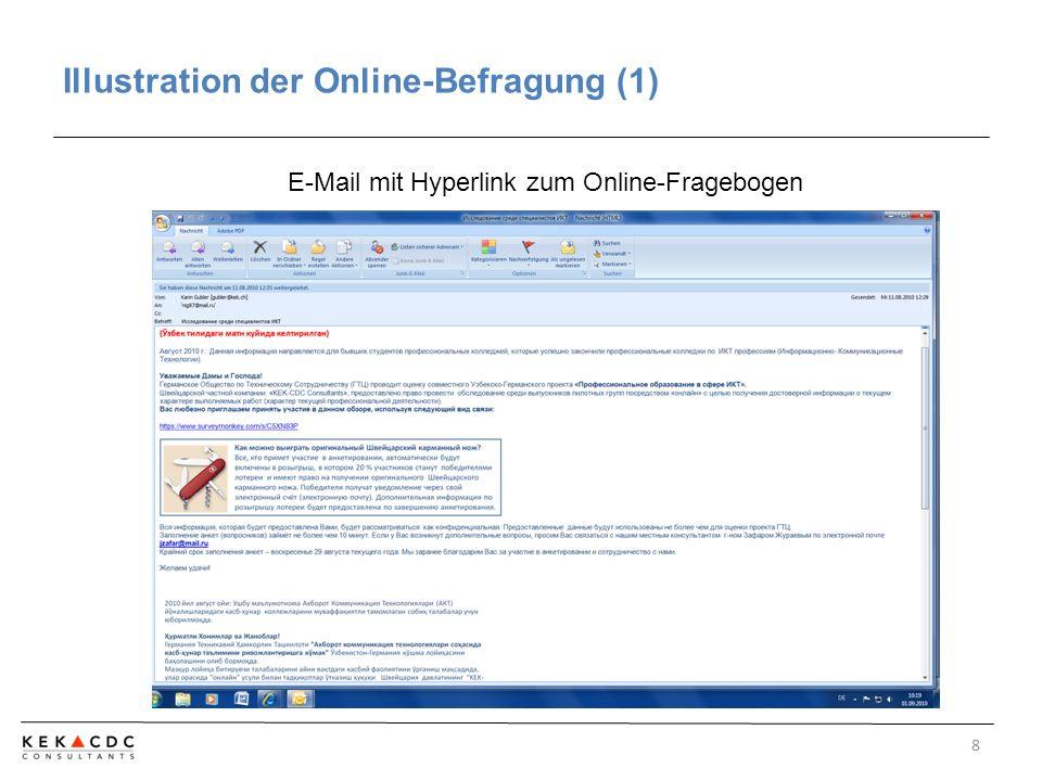 Illustration der Online-Befragung (2) 9 Online-Fragebogen
