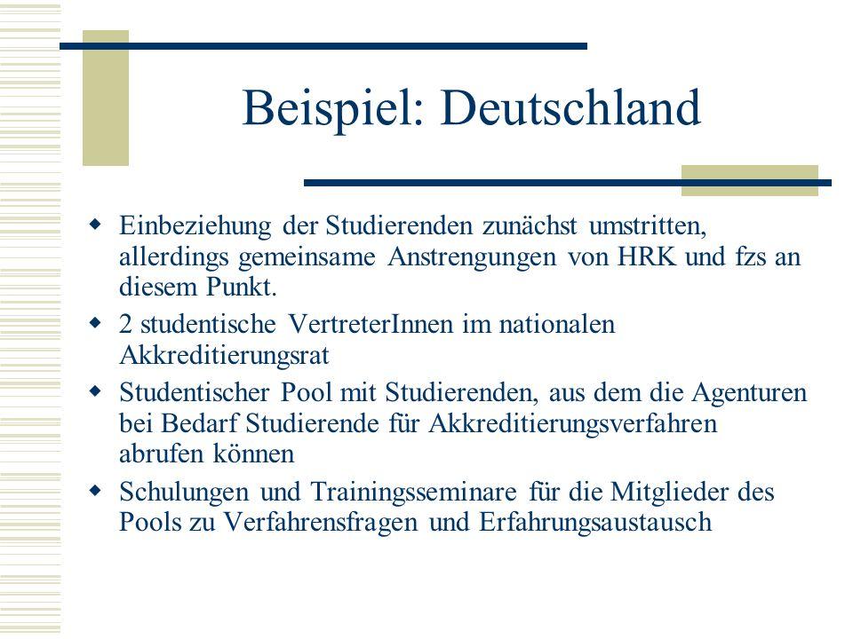 Beispiel: Deutschland Einbeziehung der Studierenden zunächst umstritten, allerdings gemeinsame Anstrengungen von HRK und fzs an diesem Punkt. 2 studen
