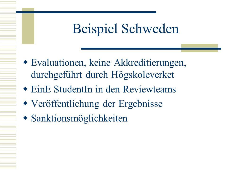 Beispiel Schweden Evaluationen, keine Akkreditierungen, durchgeführt durch Högskoleverket EinE StudentIn in den Reviewteams Veröffentlichung der Ergeb