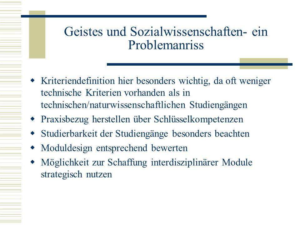 Geistes und Sozialwissenschaften- ein Problemanriss Kriteriendefinition hier besonders wichtig, da oft weniger technische Kriterien vorhanden als in t