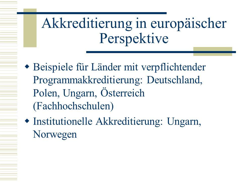 Akkreditierung in europäischer Perspektive Beispiele für Länder mit verpflichtender Programmakkreditierung: Deutschland, Polen, Ungarn, Österreich (Fa