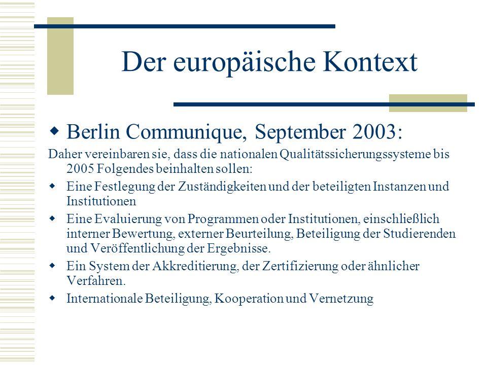 Der europäische Kontext Berlin Communique, September 2003: Daher vereinbaren sie, dass die nationalen Qualitätssicherungssysteme bis 2005 Folgendes be