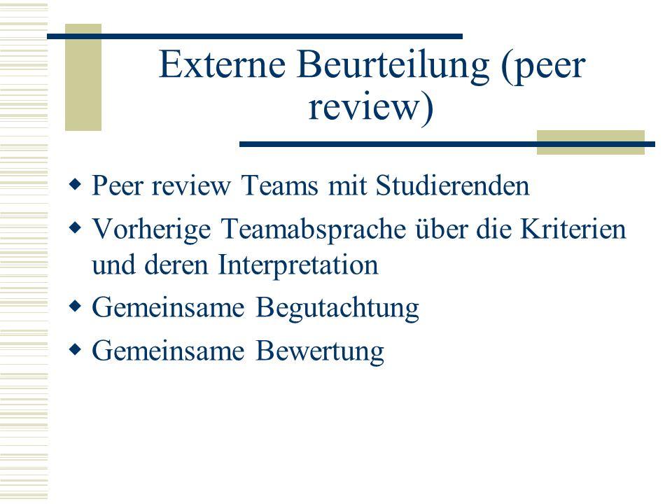 Externe Beurteilung (peer review) Peer review Teams mit Studierenden Vorherige Teamabsprache über die Kriterien und deren Interpretation Gemeinsame Be