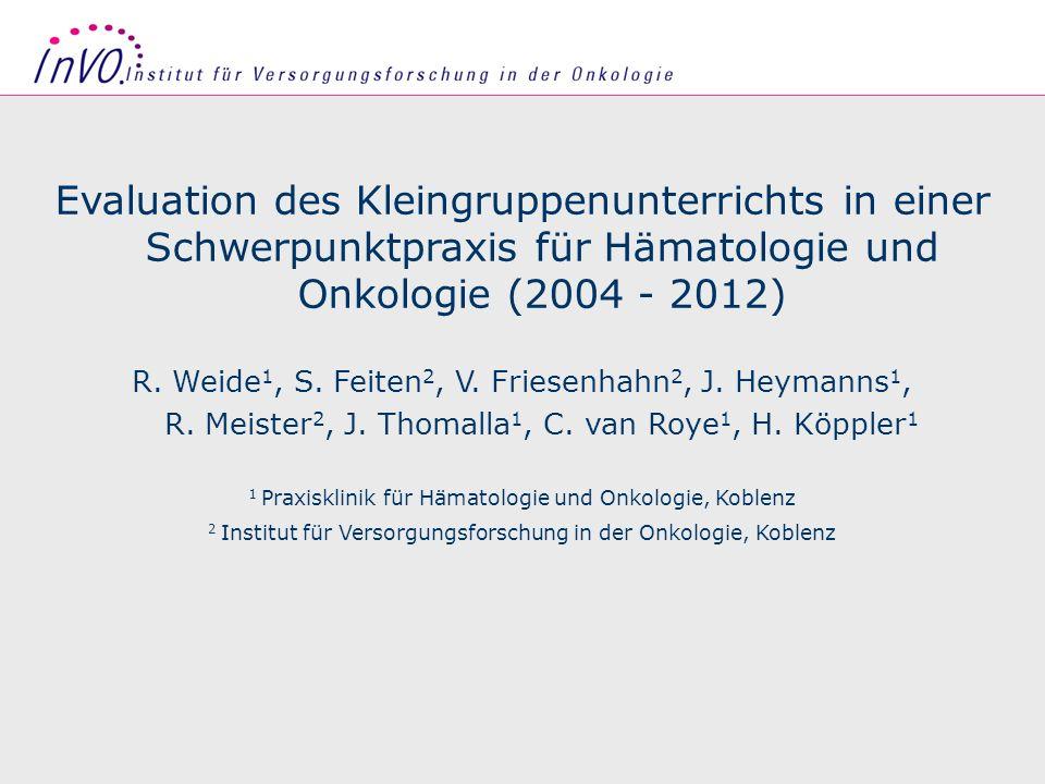 Seite 1 Evaluation des Kleingruppenunterrichts in einer Schwerpunktpraxis für Hämatologie und Onkologie (2004 - 2012) R. Weide 1, S. Feiten 2, V. Frie