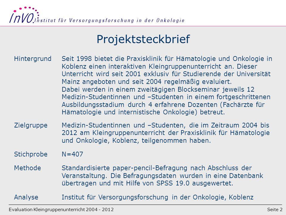 Seite 2 Projektsteckbrief Evaluation Kleingruppenunterricht 2004 - 2012 HintergrundSeit 1998 bietet die Praxisklinik für Hämatologie und Onkologie in