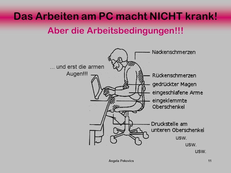 Angela Pekovics11 Das Arbeiten am PC macht NICHT krank! usw.... und erst die armen Augen!!! Aber die Arbeitsbedingungen!!!