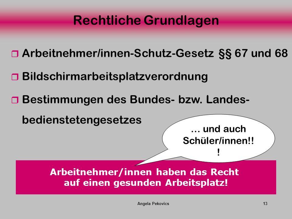 Angela Pekovics13 Rechtliche Grundlagen Arbeitnehmer/innen-Schutz-Gesetz §§ 67 und 68 Bildschirmarbeitsplatzverordnung Bestimmungen des Bundes- bzw. L