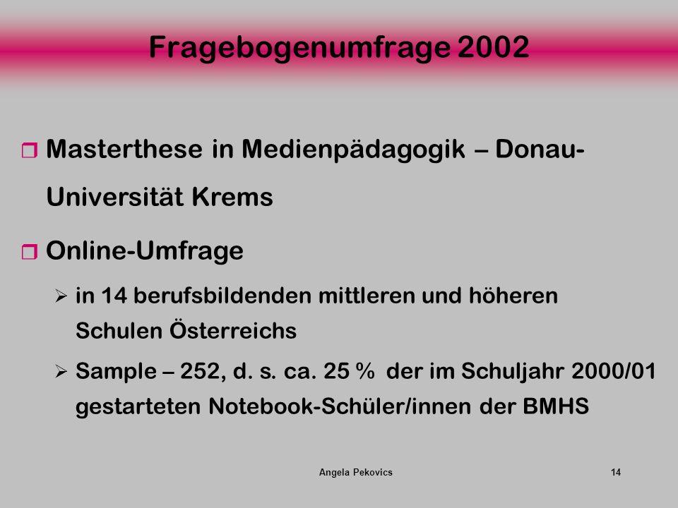 Angela Pekovics14 Fragebogenumfrage 2002 Masterthese in Medienpädagogik – Donau- Universität Krems Online-Umfrage in 14 berufsbildenden mittleren und