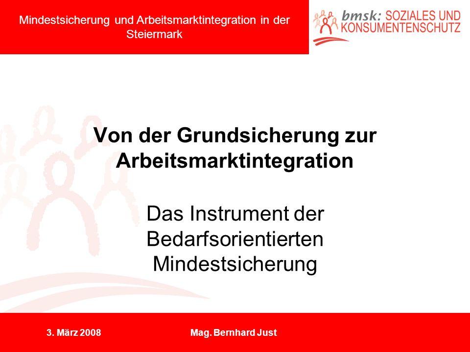 3. März 2008Mag. Bernhard Just Von der Grundsicherung zur Arbeitsmarktintegration Das Instrument der Bedarfsorientierten Mindestsicherung Mindestsiche