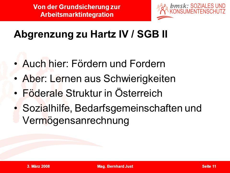 3. März 2008Mag. Bernhard JustSeite 11 Von der Grundsicherung zur Arbeitsmarktintegration Abgrenzung zu Hartz IV / SGB II Auch hier: Fördern und Forde