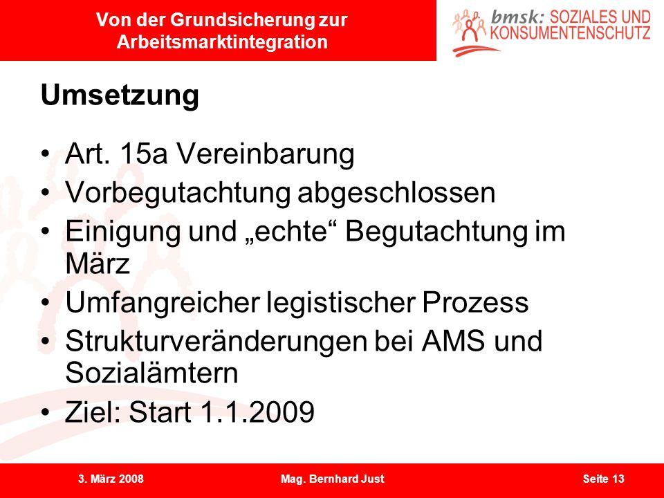 3. März 2008Mag. Bernhard JustSeite 13 Von der Grundsicherung zur Arbeitsmarktintegration Umsetzung Art. 15a Vereinbarung Vorbegutachtung abgeschlosse