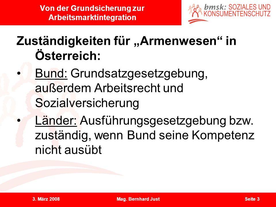 3. März 2008Mag. Bernhard JustSeite 3 Von der Grundsicherung zur Arbeitsmarktintegration Zuständigkeiten für Armenwesen in Österreich: Bund: Grundsatz
