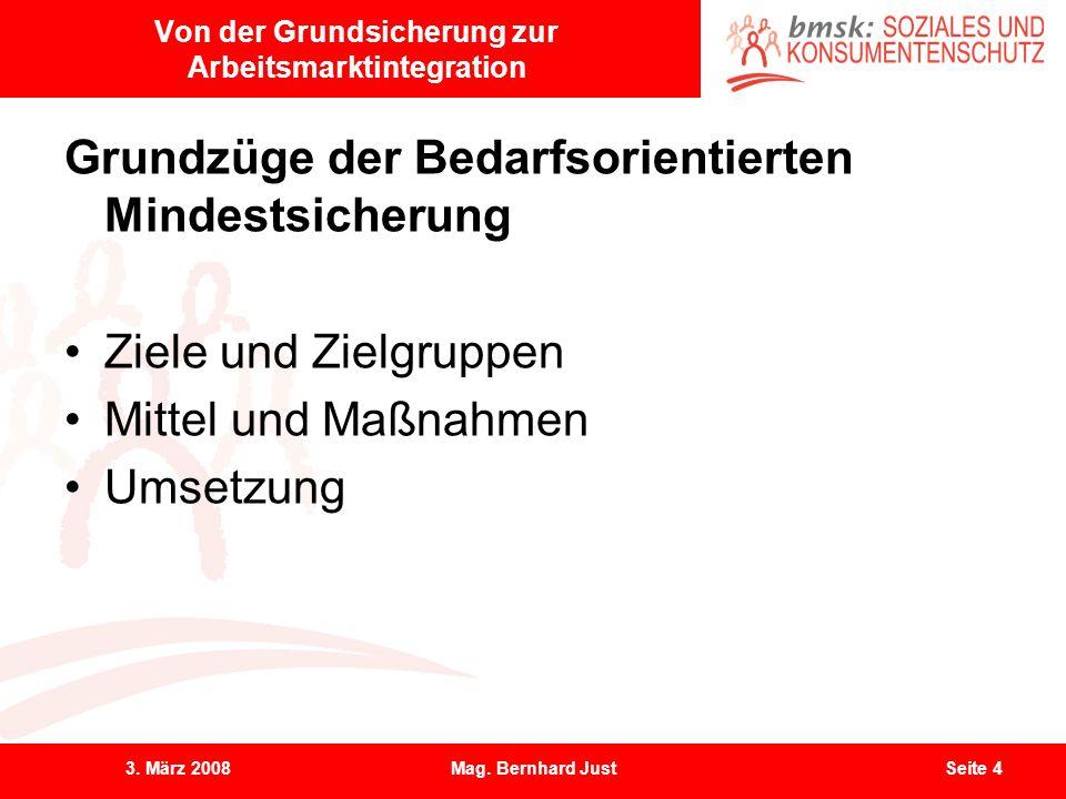 3. März 2008Mag. Bernhard JustSeite 4 Von der Grundsicherung zur Arbeitsmarktintegration Grundzüge der Bedarfsorientierten Mindestsicherung Ziele und