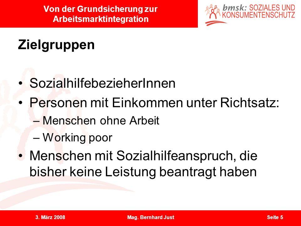 3. März 2008Mag. Bernhard JustSeite 5 Von der Grundsicherung zur Arbeitsmarktintegration Zielgruppen SozialhilfebezieherInnen Personen mit Einkommen u