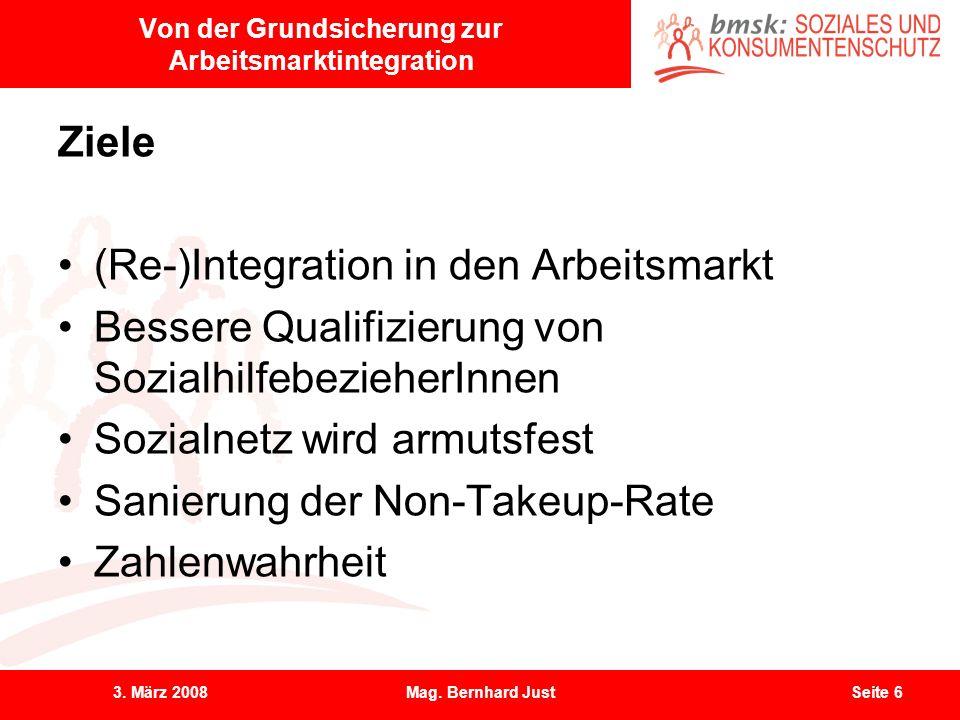 3. März 2008Mag. Bernhard JustSeite 6 Von der Grundsicherung zur Arbeitsmarktintegration Ziele (Re-)Integration in den Arbeitsmarkt Bessere Qualifizie