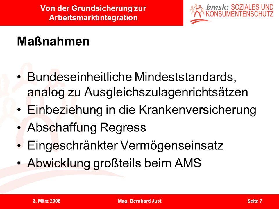 3. März 2008Mag. Bernhard JustSeite 7 Von der Grundsicherung zur Arbeitsmarktintegration Maßnahmen Bundeseinheitliche Mindeststandards, analog zu Ausg