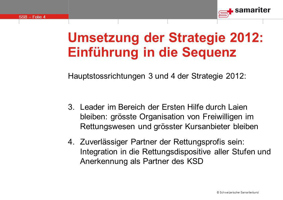 SSB – Folie 5 © Schweizerischer Samariterbund Umsetzung der Strategie 2012: Einführung in die Sequenz Die Strategie ist so gut wie ihre Umsetzung