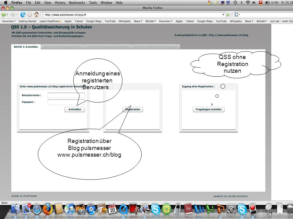 Anmeldung eines registrierten Benutzers Registration über Blog pulsmesser www.pulsmesser.ch/blog QSS ohne Registration nutzen