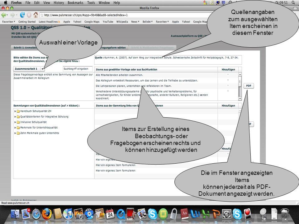 Auswahl einer Vorlage Quellenangaben zum ausgewählten Item erscheinen in diesem Fenster Items zur Erstellung eines Beobachtungs- oder Fragebogen ersch