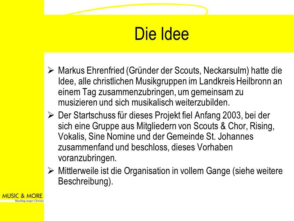 Die Idee Markus Ehrenfried (Gründer der Scouts, Neckarsulm) hatte die Idee, alle christlichen Musikgruppen im Landkreis Heilbronn an einem Tag zusamme