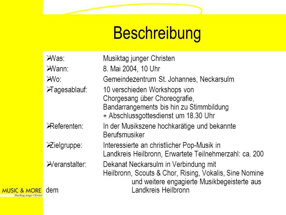Beschreibung Was:Musiktag junger Christen Wann: 8. Mai 2004, 10 Uhr Wo:Gemeindezentrum St. Johannes, Neckarsulm Tagesablauf:10 verschieden Workshops v