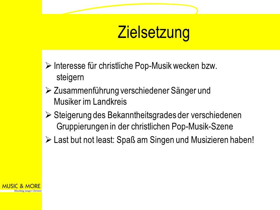Zielsetzung Interesse für christliche Pop-Musik wecken bzw. steigern Zusammenführung verschiedener Sänger und Musiker im Landkreis Steigerung des Beka