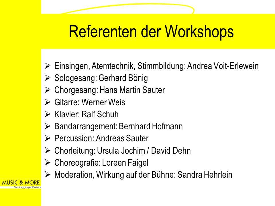 Referenten der Workshops Einsingen, Atemtechnik, Stimmbildung: Andrea Voit-Erlewein Sologesang: Gerhard Bönig Chorgesang: Hans Martin Sauter Gitarre: