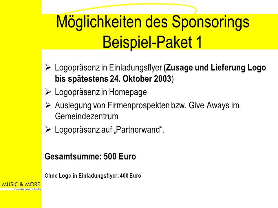 Möglichkeiten des Sponsorings Beispiel-Paket 2 Sponsoring eines speziellen Workshops mit Nennung des Firmennamens bei Veranstaltung + Paket 1 Gesamtsumme: 750 Euro