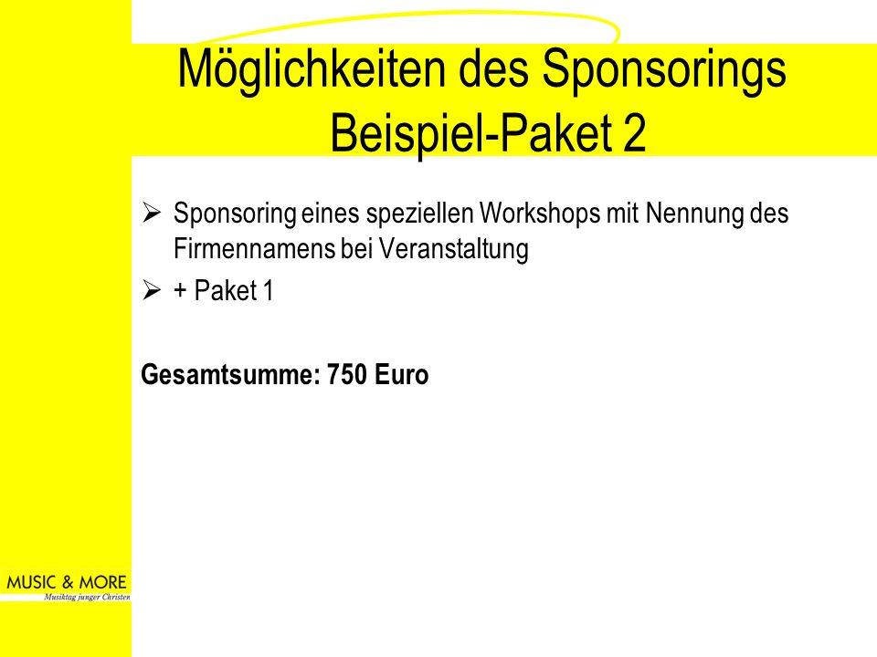 Möglichkeiten des Sponsorings Beispiel-Paket 2 Sponsoring eines speziellen Workshops mit Nennung des Firmennamens bei Veranstaltung + Paket 1 Gesamtsu