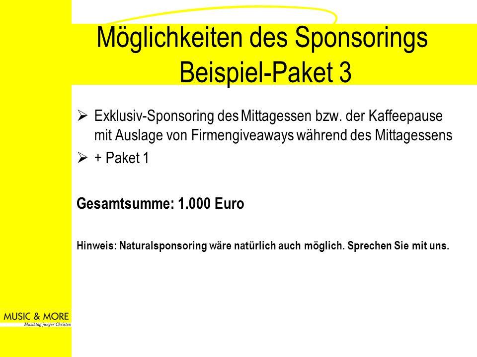 Möglichkeiten des Sponsorings Beispiel-Paket 3 Exklusiv-Sponsoring des Mittagessen bzw. der Kaffeepause mit Auslage von Firmengiveaways während des Mi
