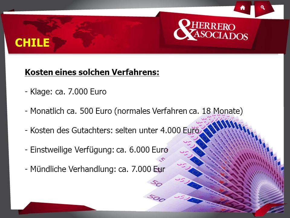 Kosten eines solchen Verfahrens: - Klage: ca. 7.000 Euro - Monatlich ca.