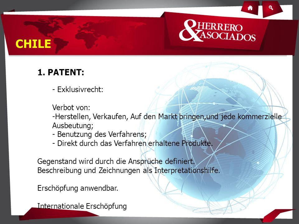 1. PATENT: - Exklusivrecht: Verbot von: -Herstellen, Verkaufen, Auf den Markt bringen,und jede kommerzielle Ausbeutung; - Benutzung des Verfahrens; -